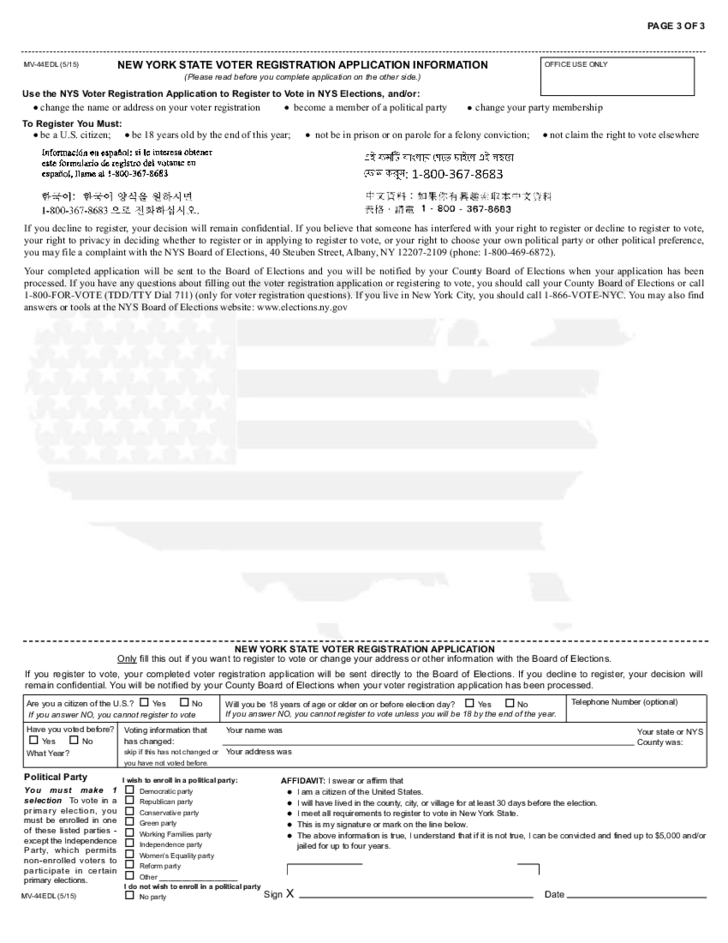 Form MV-44EDL - Application for Enhanced Permit, Driver License or ...