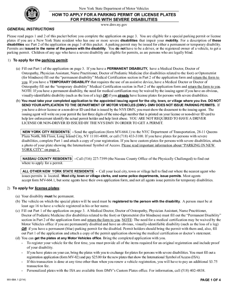 Form MV-664.1 - Application for a Parking Permit or License ... on credit cards application, frequently asked questions application, state of illinois handicap parking application, pa disability placard application, library card application, generic employment application,