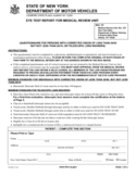 Form MV-80L - Eye Test Report for Medical Review Unit - New York