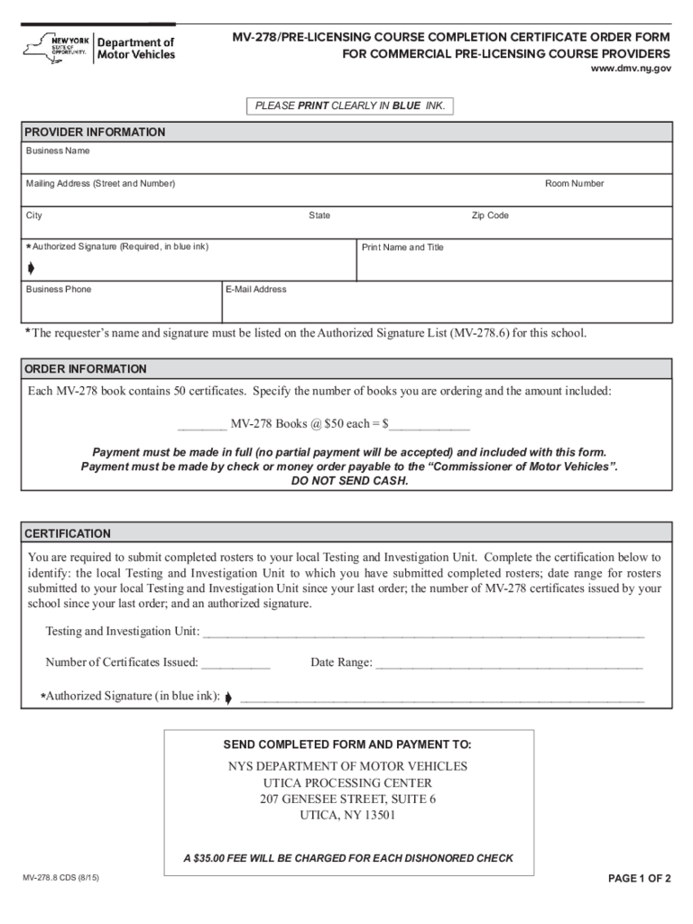 Form MV-278.8CDS - Pre-Licensing Course Completion Certificate Order Form - New York