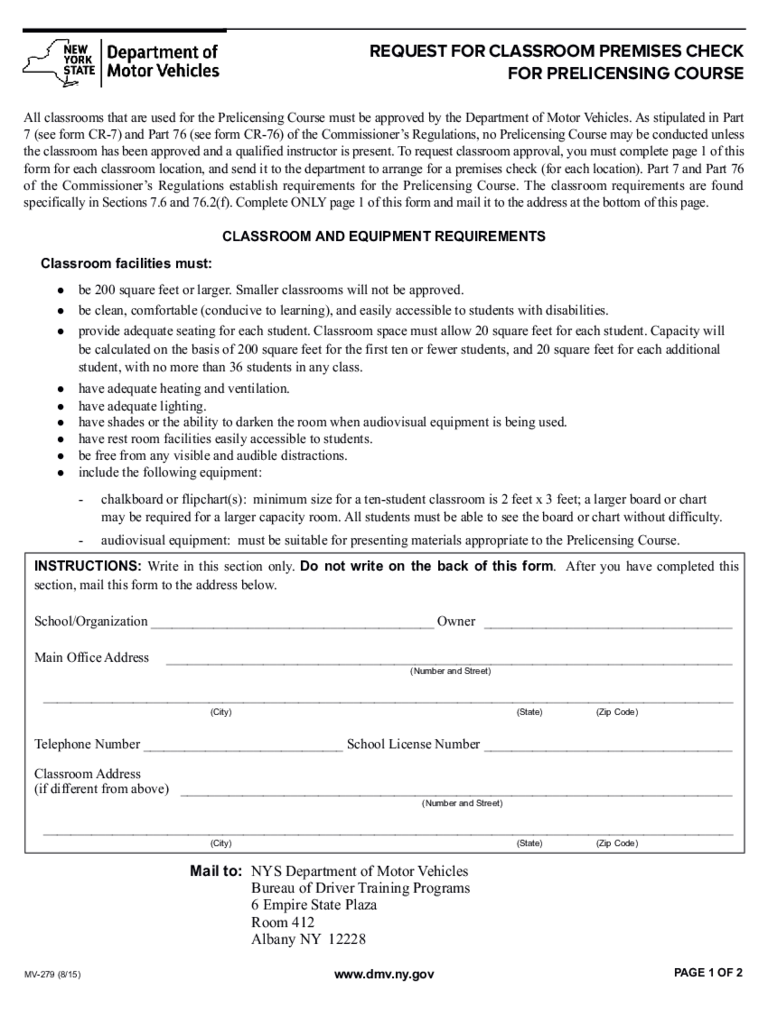 Form MV-279 - Request for Classroom Premises Check - New York