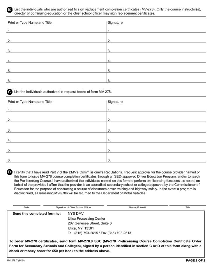 Form Mv 2787 Authorization And Approval For Pre Licensing Course