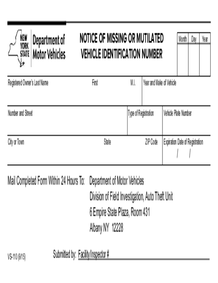 Form vs 110 notice of missing vehicle identification for Ny motor vehicle inspection