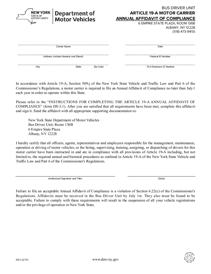 form ds-3 - article 19-a annual affidavit of compliance