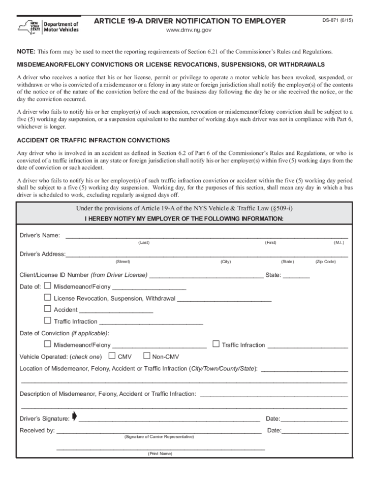 Form Ds 871 Article 19 A Driver Notification To Employer