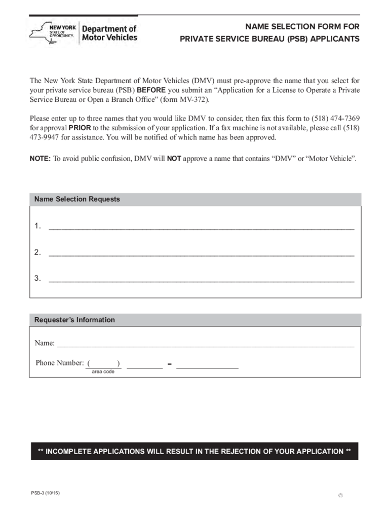 Form PSB-3 - Name Selection for Private Service Bureau Applicants - New York