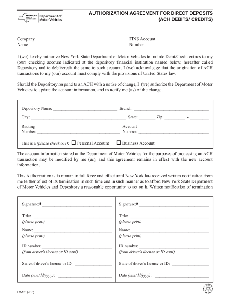 Form FM-138 - Authorization Agreement for Direct Deposits - New York Free Download