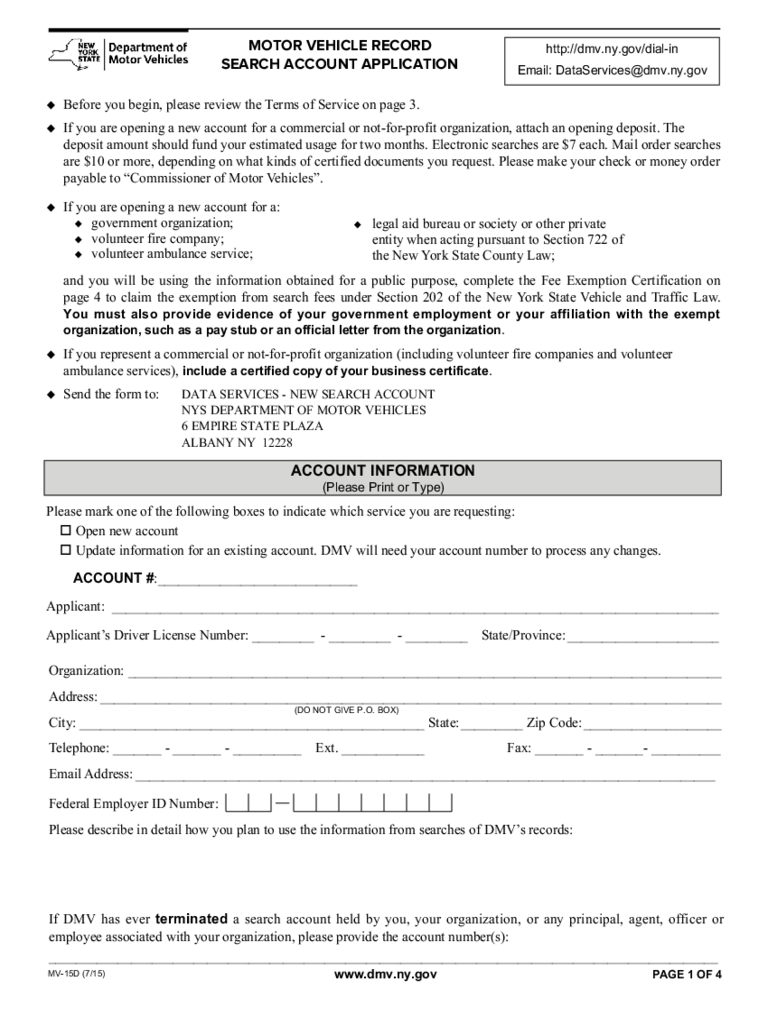Form MV-15D - Motor Vehicle Record Search Account Application - New York