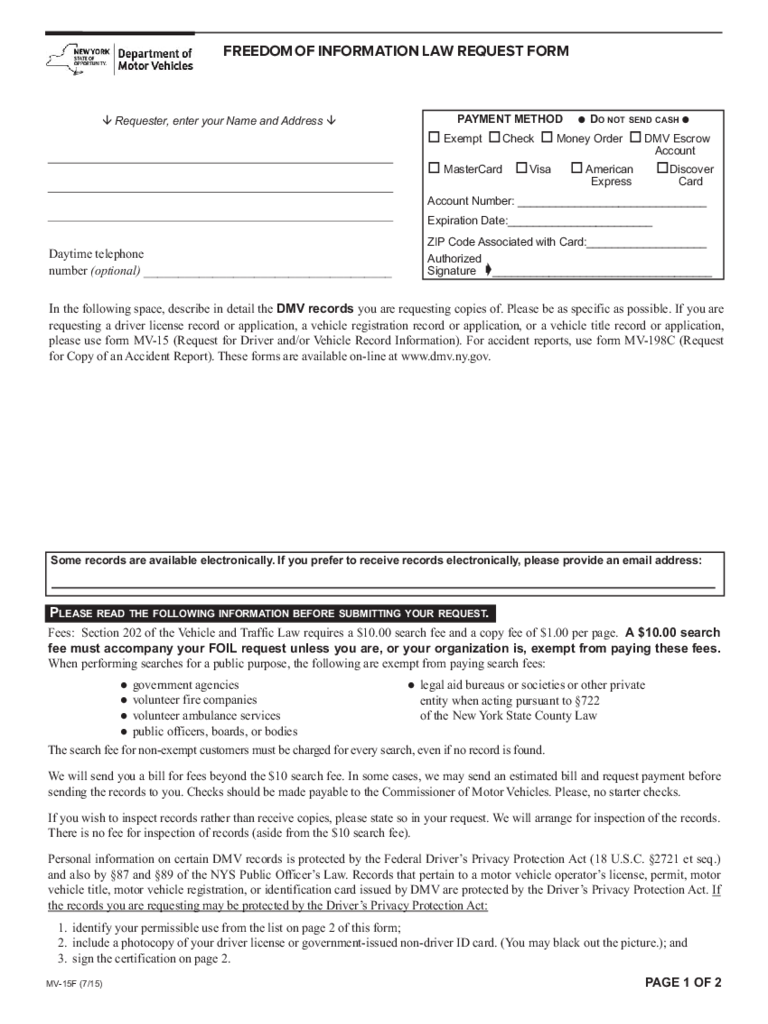 Form MV-15F - Freedom of Information Law Request Form - New York