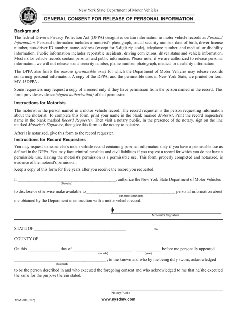 Ny dmv records 9 free templates in pdf word excel download for Generic consent form template