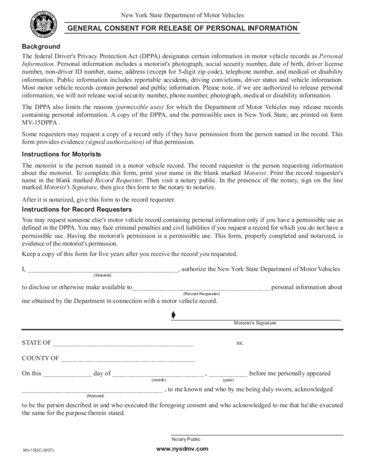 Form MV15GC General Consent for Release of Personal Information – Personal Information Release Form