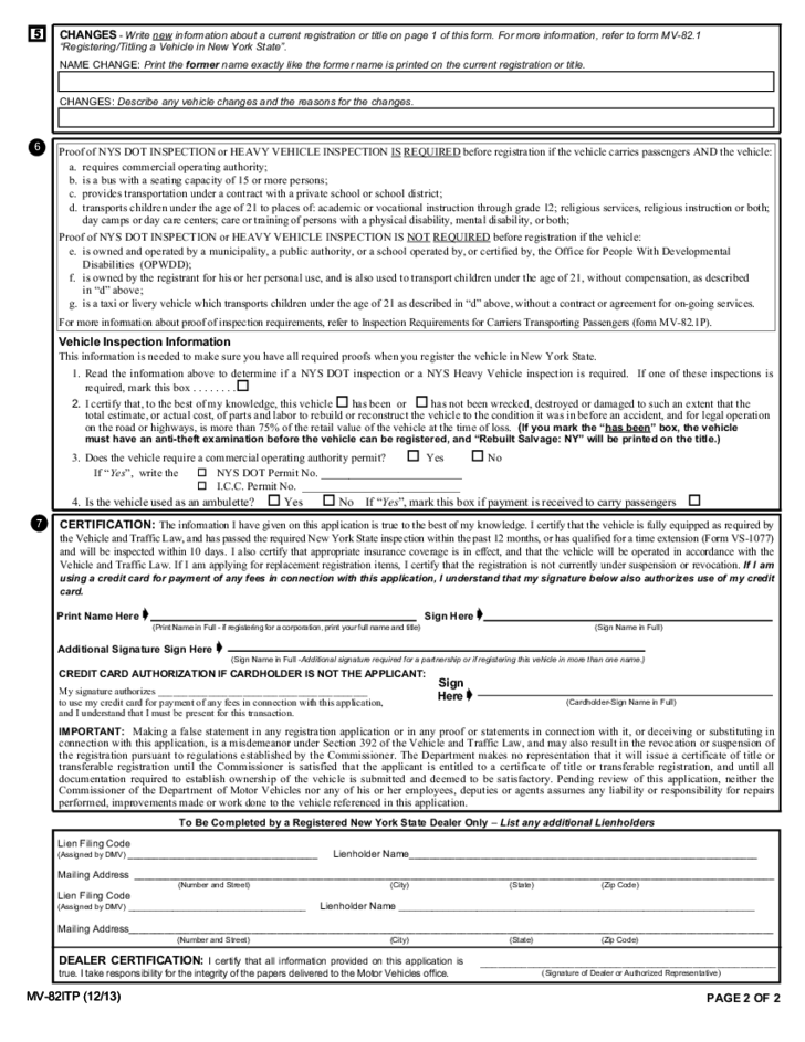 Form MV-82ITP - In-Transit Permit/Title Application - New York ...