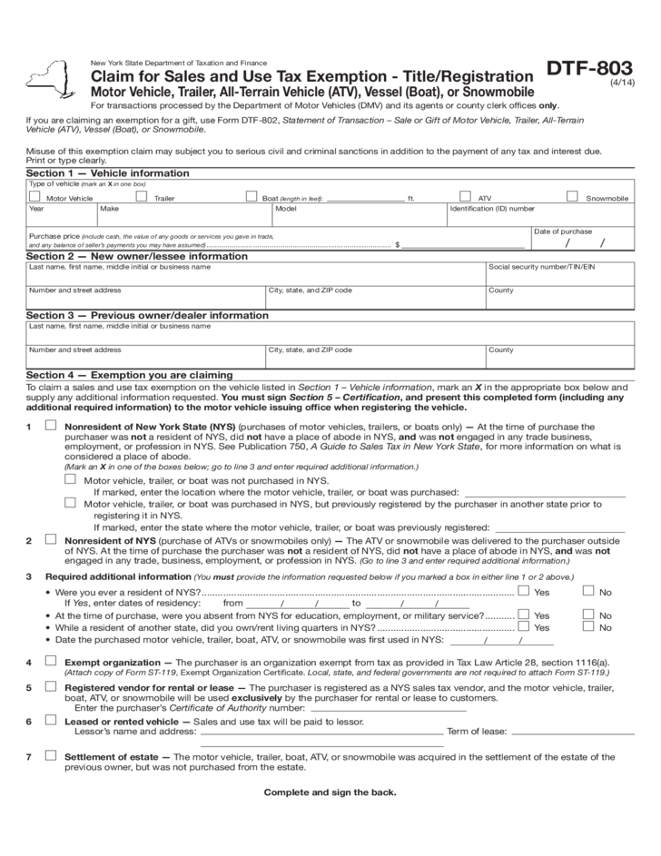 form dtf 803 claim for sales and use tax exemption new