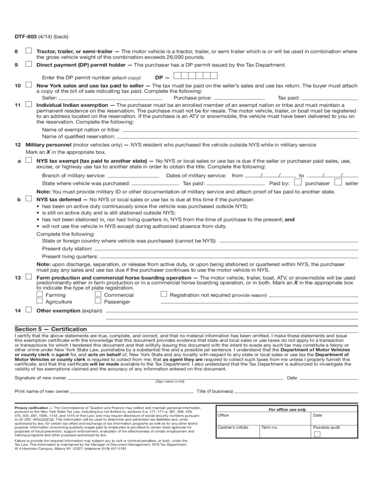 form dtf-803 - claim for sales and use tax exemption - new york free