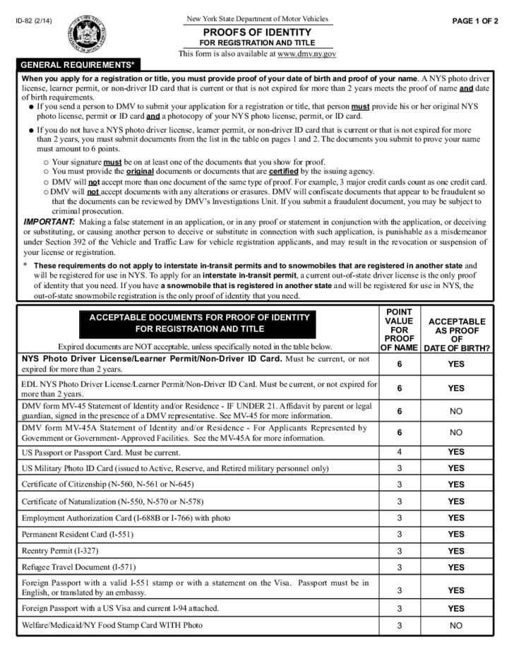 Ny Dmv Registration Form >> Form ID-82 - Proofs of Identity for Registration and Title - New York Free Download
