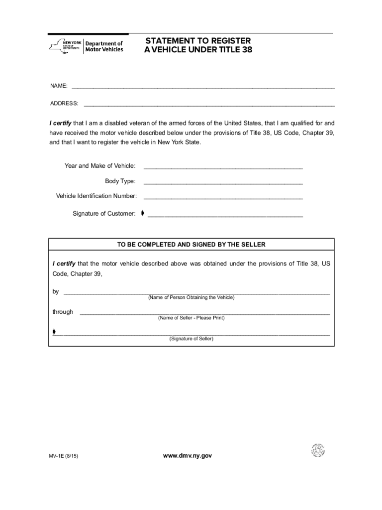 Form MV-1E - Statement to Register a Vehicle Under Title 38 - New York
