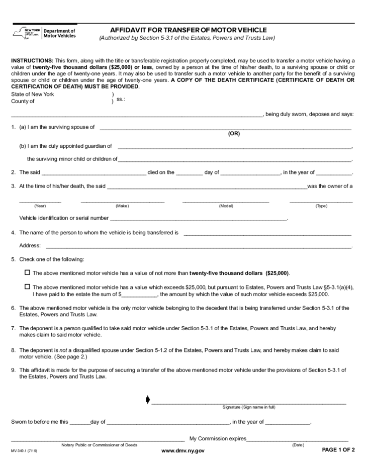 Form Mv 349 1 Affidavit For Transfer Of Motor Vehicle