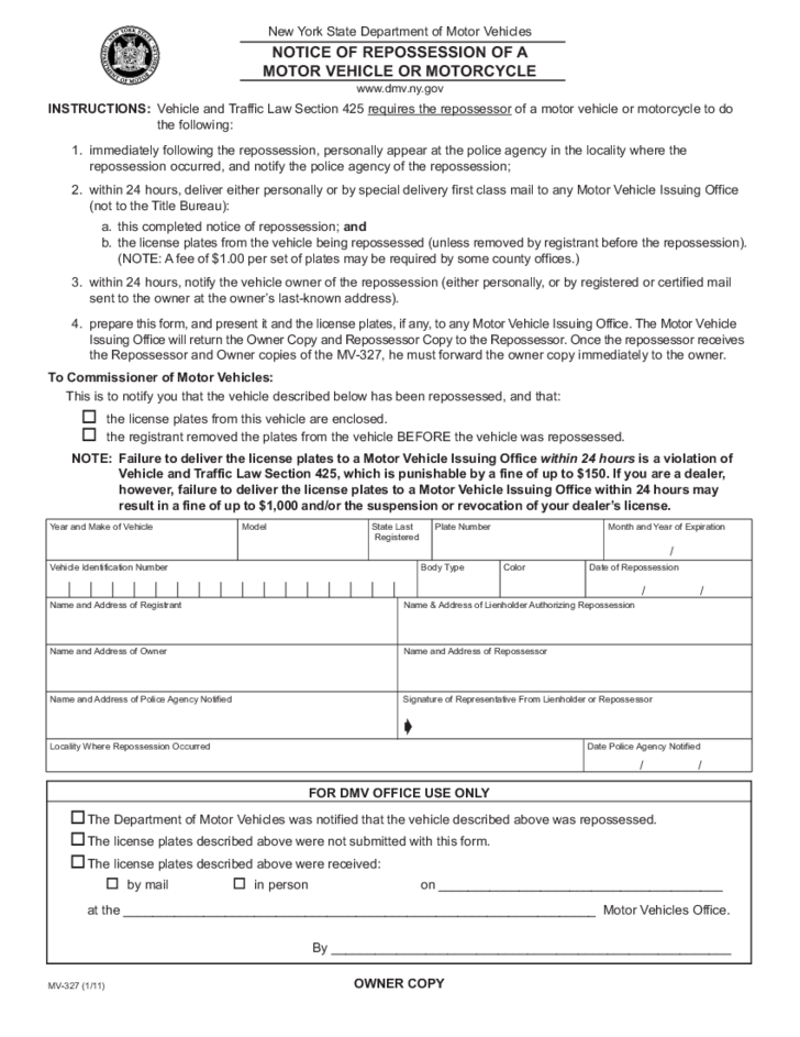 Form Mv 327 Repossession Notice Of Motor Vehicle Motorcycle New York Free Download