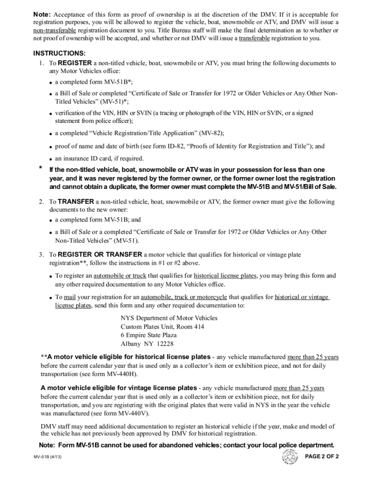 Form MV-51B - Statement of Ownership for Vehicles - New York Free
