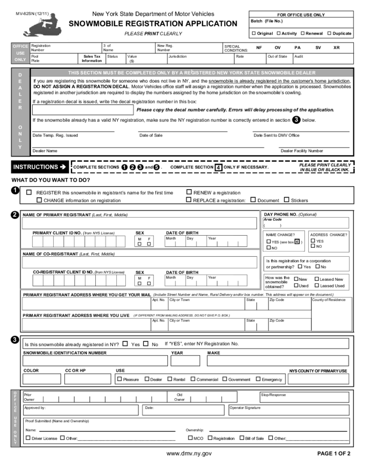 Form MV-82SN - Snowmobile Registration Application - New