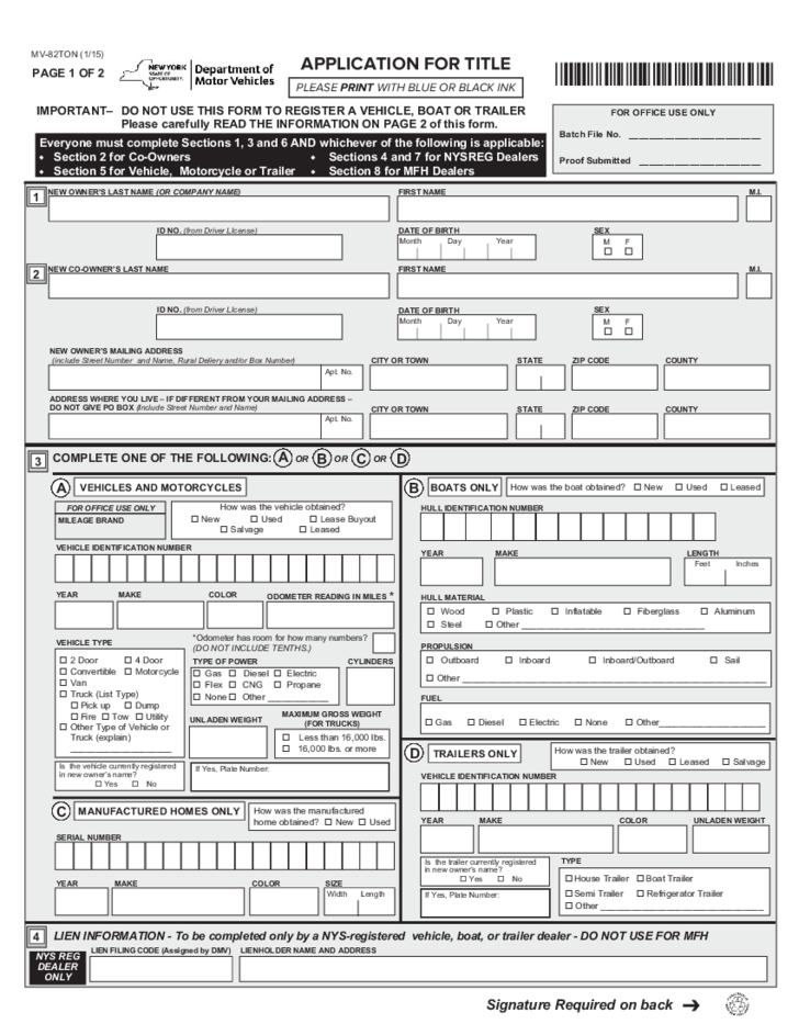 Ny Dmv Registration Form >> Form MV-82TON - Application for Title - New York Free Download