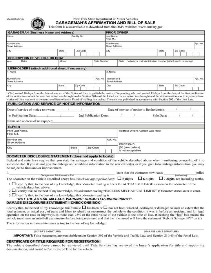 Form MV-901B - Garageman's Affirmation and Bill of Sale - New York ...