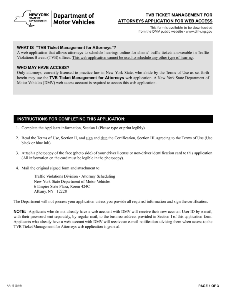 Form AA-15 - TVB Ticket Management for Attorneys Application - New York