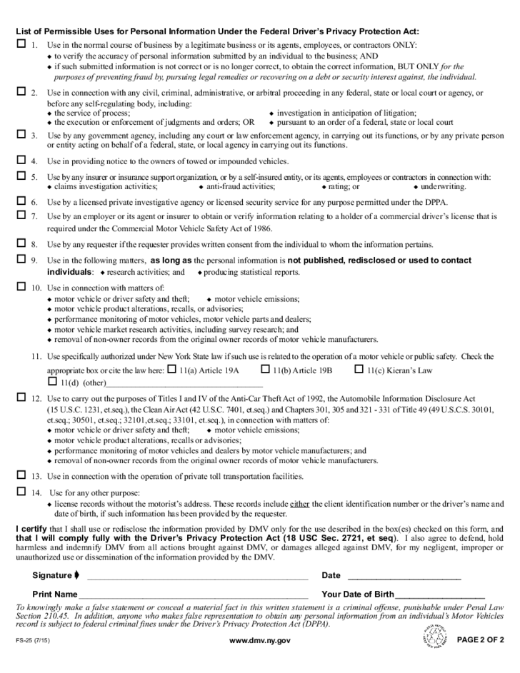 Form FS-25 - Request for Insurance Information for NY ...