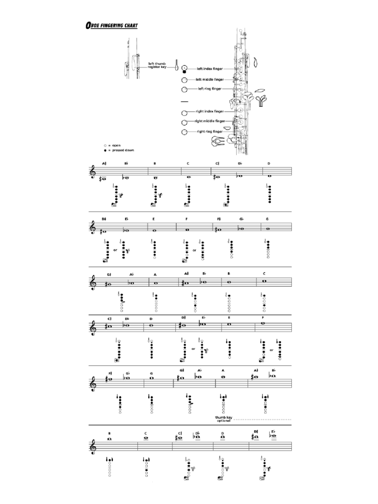 Oboe Fingering Chart Sample