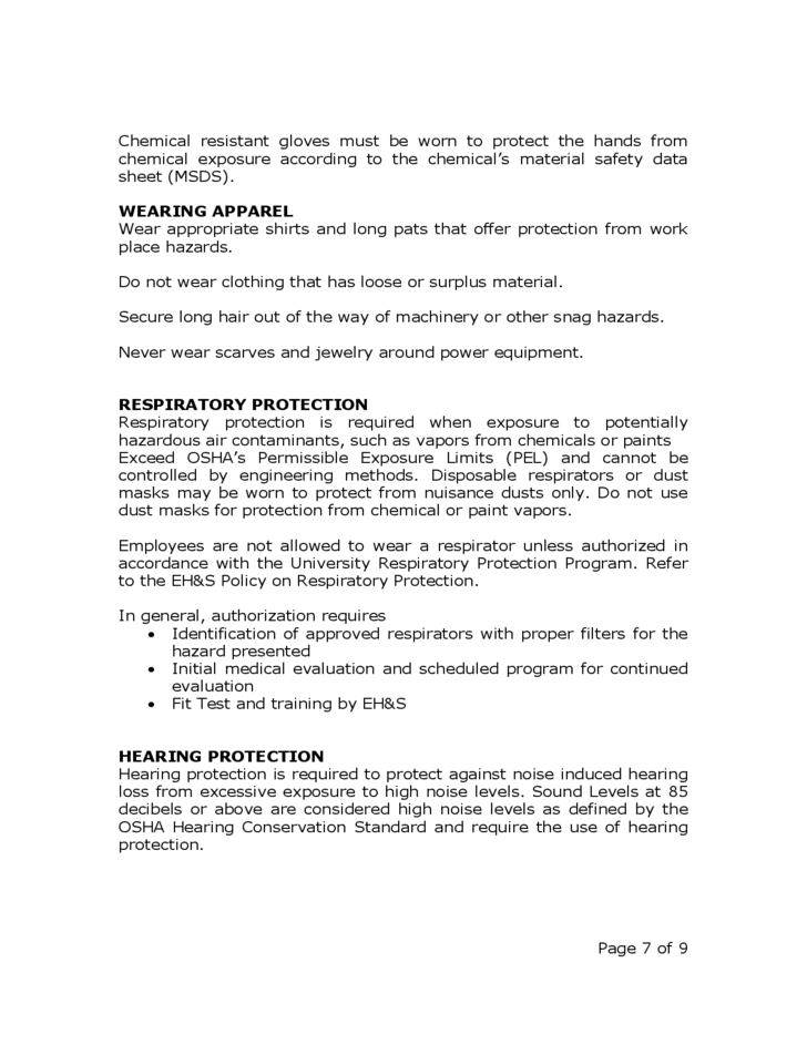 7 occupational safety and health policy