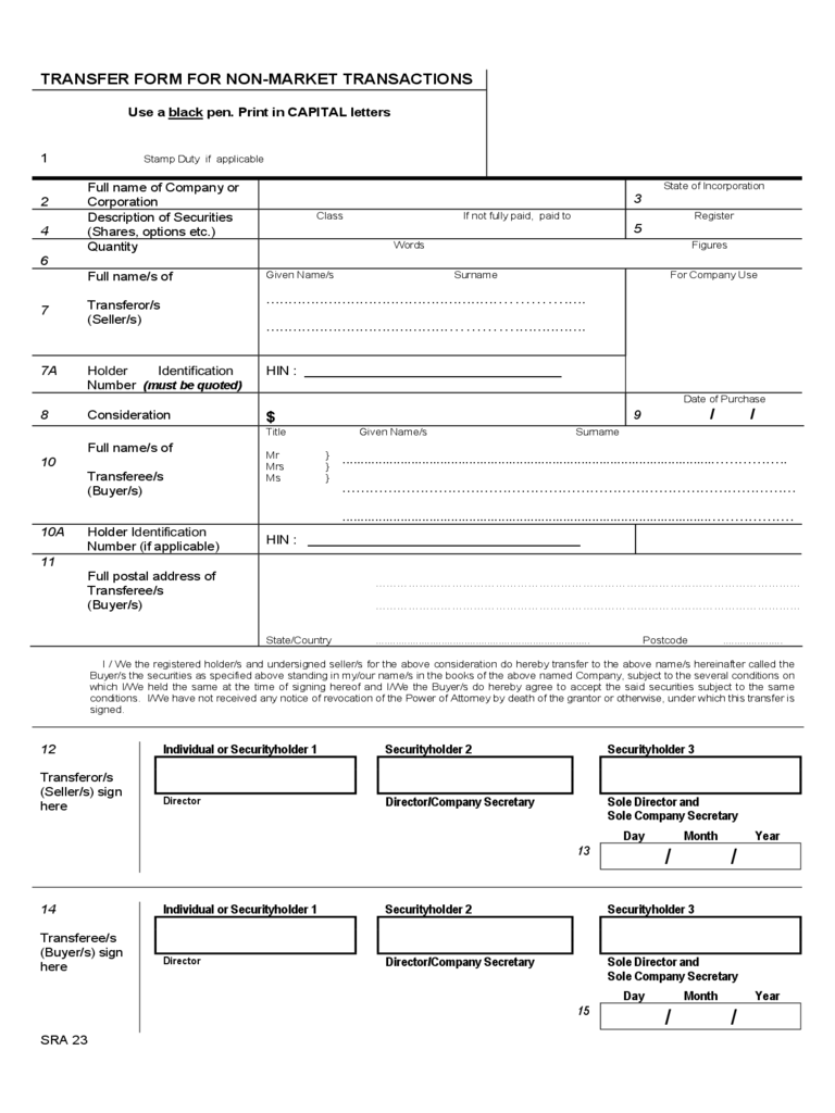 Standard Form for Non-Market Transactions