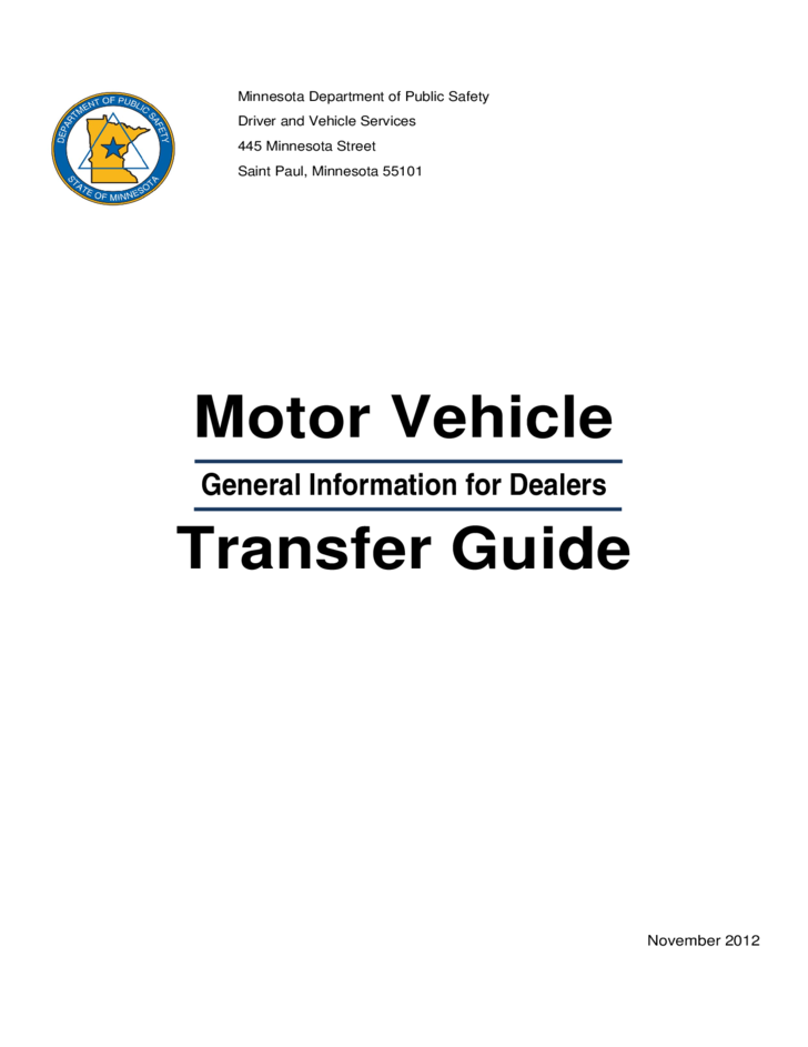 Motor vehicle transfer guide minnesota free download for Motor vehicle id price