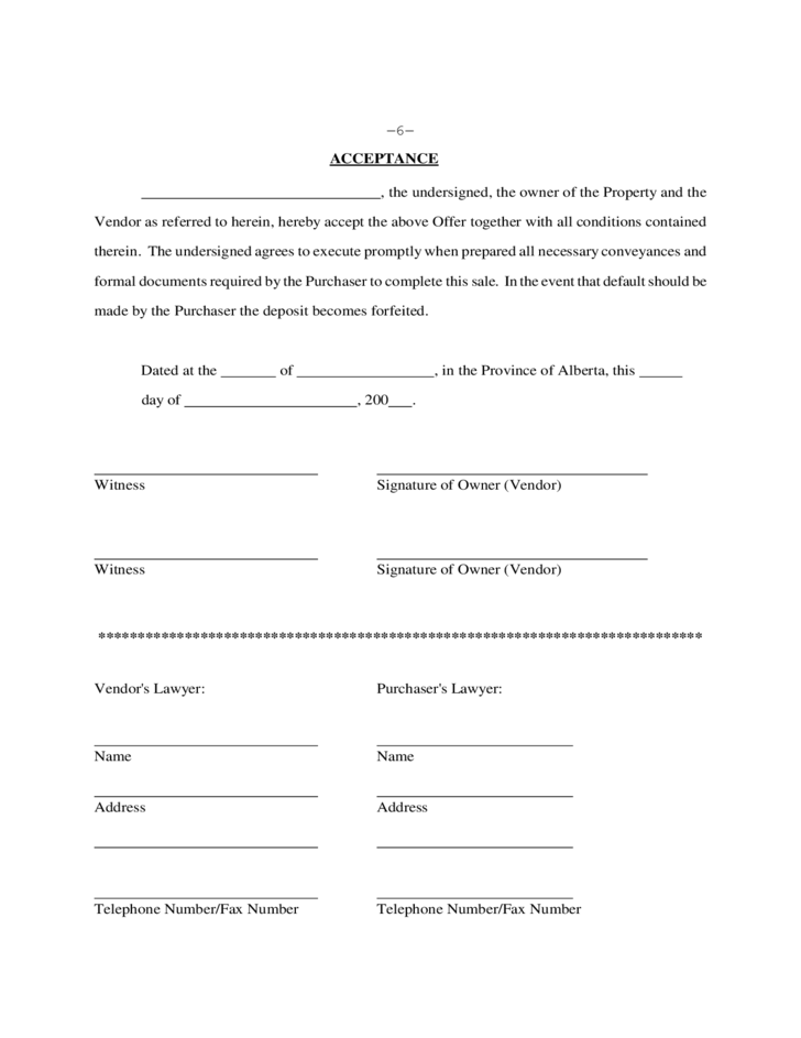 Real Estate Purchase Contract Alberta Free Download