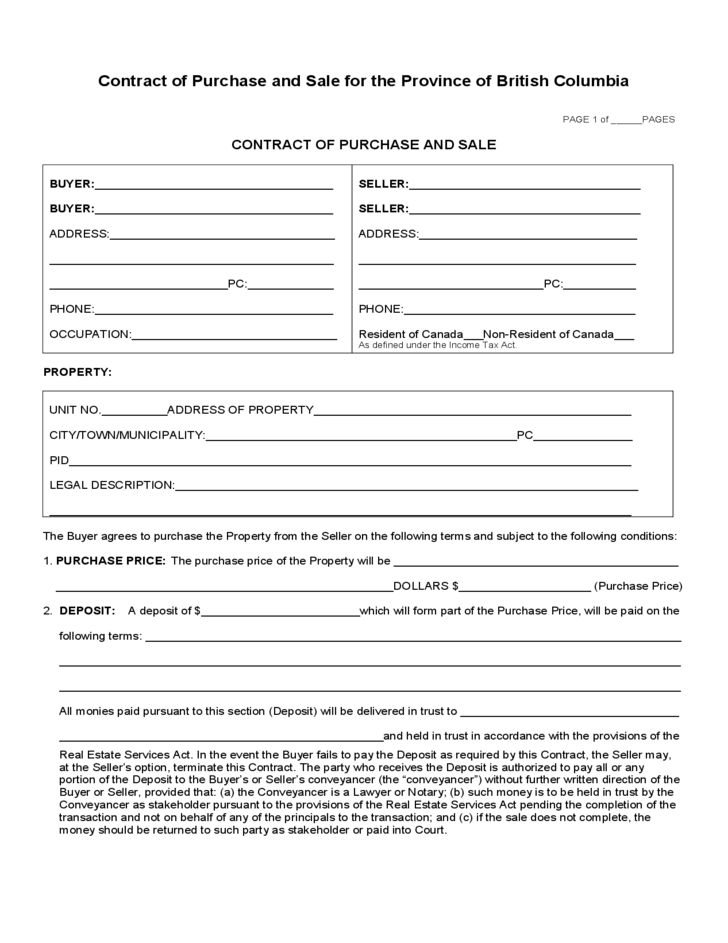 Contract Of Purchase And Sale For The Province Of British