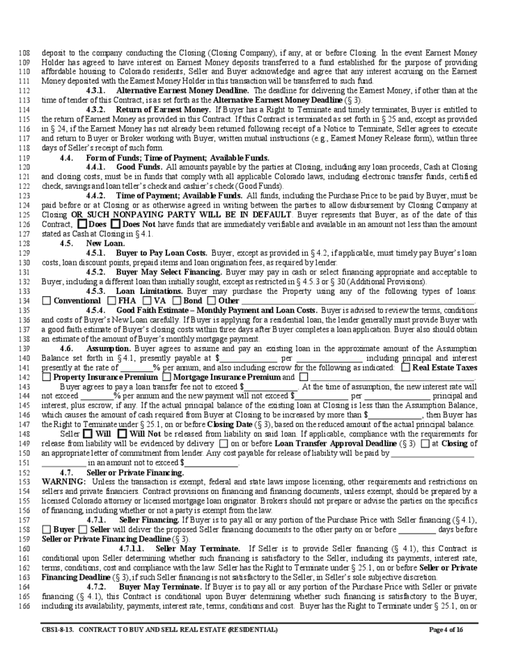 Contract To Buy And Sell Real Estate Colorado Free Download