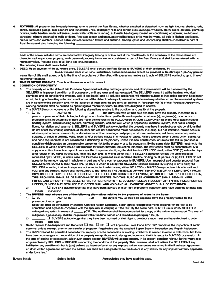 Residential Real Estate Purchase Agreement Iowa Free Download