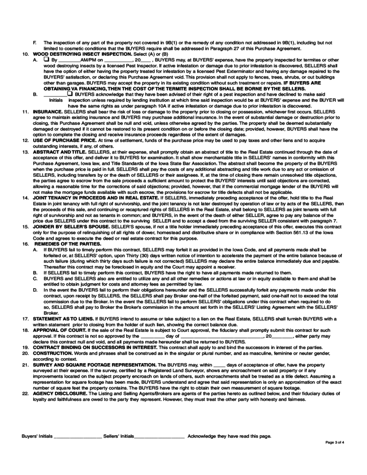 Residential Real Estate Purchase Agreement Iowa Free
