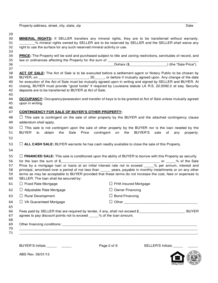 louisiana residential agreement to buy or sell free download