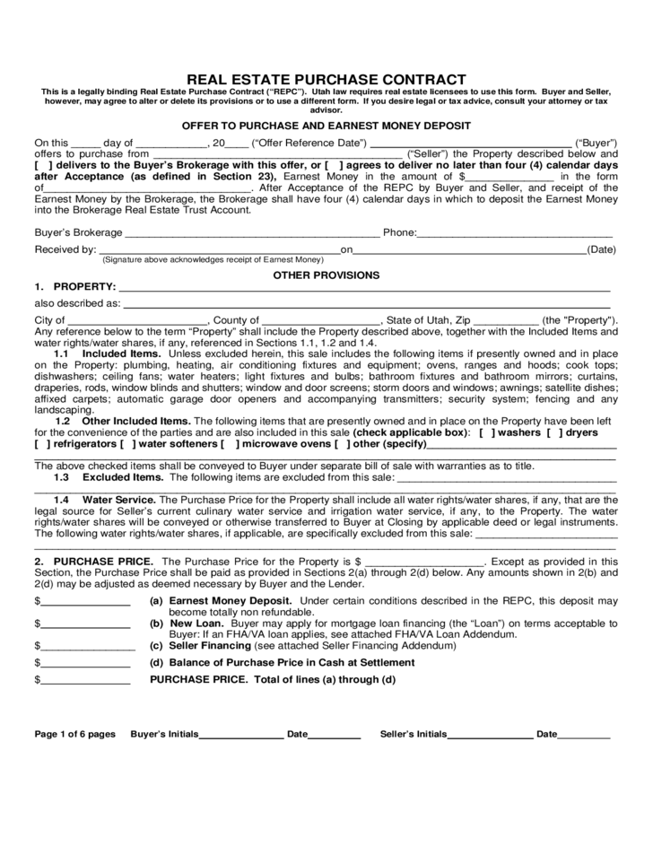 Real Estate Purchase Contract Utah Free Download