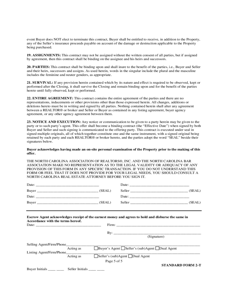 Offer to Purchase And Contract - North Carolina