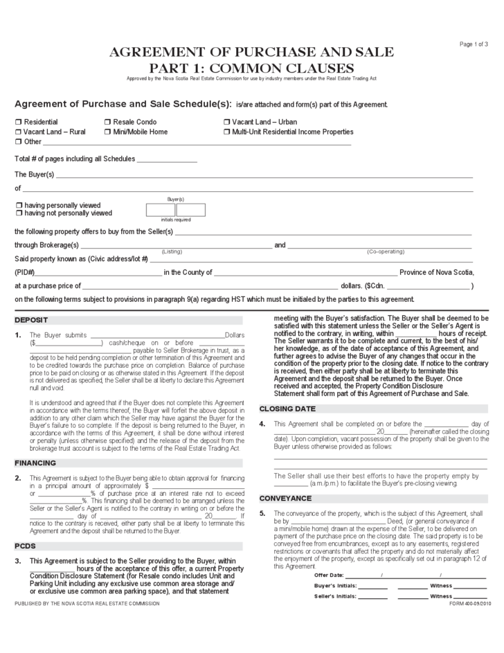 purchase and sale agreement template nova scotia  Agreement of Purchase And Sale - Nova Scotia Free Download