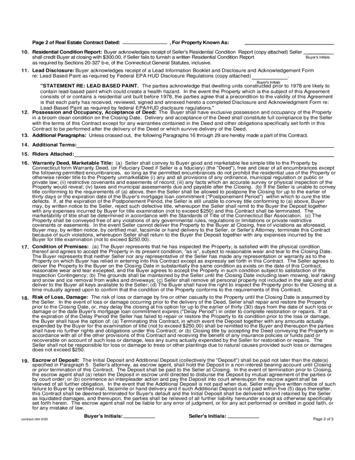 Standard Form Real Estate Contract Connecticut Free Download