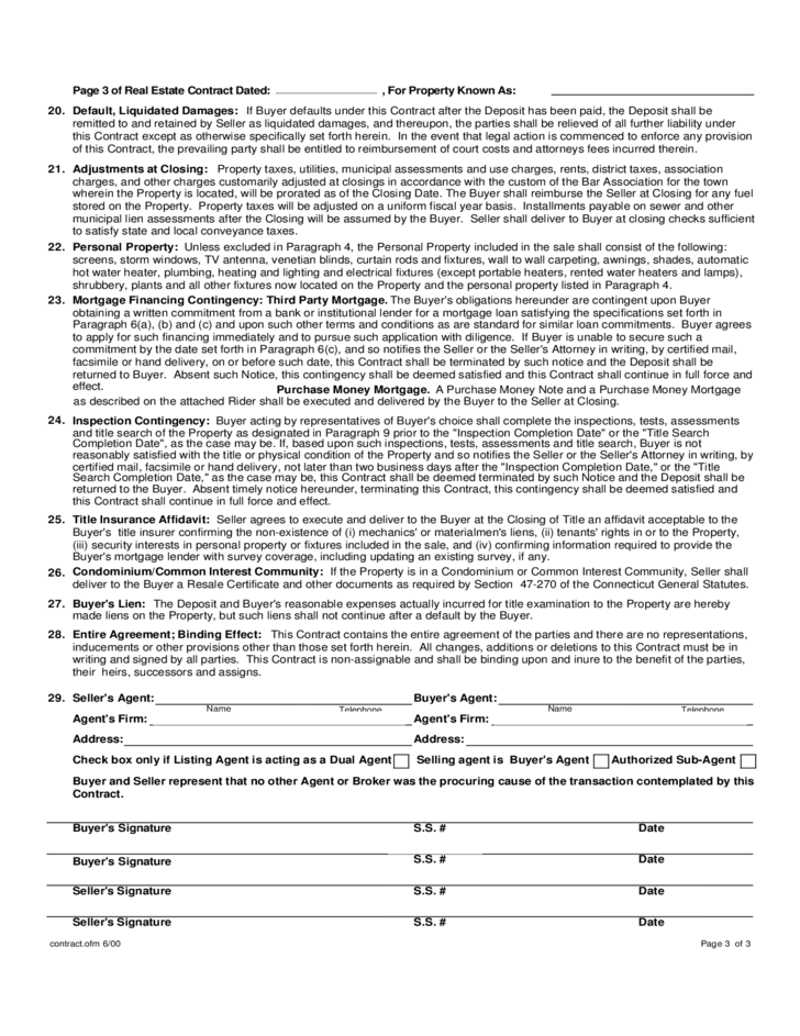 Standard Form Real Estate Contract - Connecticut