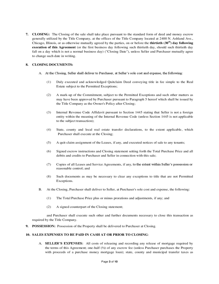 Real Estate Purchase And Sale Agreement Illinois Free Download