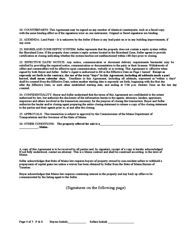 Purchase And Sale Agreement Maine Free Download