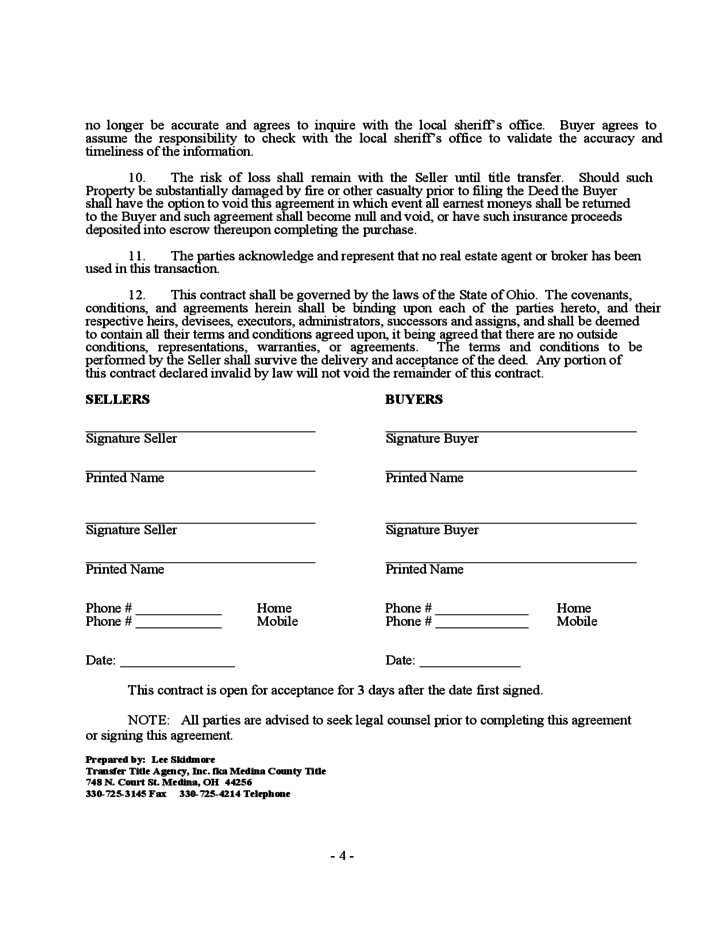Purchase Agreement for Residential Real Estate in Ohio Ohio Free – Home Purchase Agreement Form Free