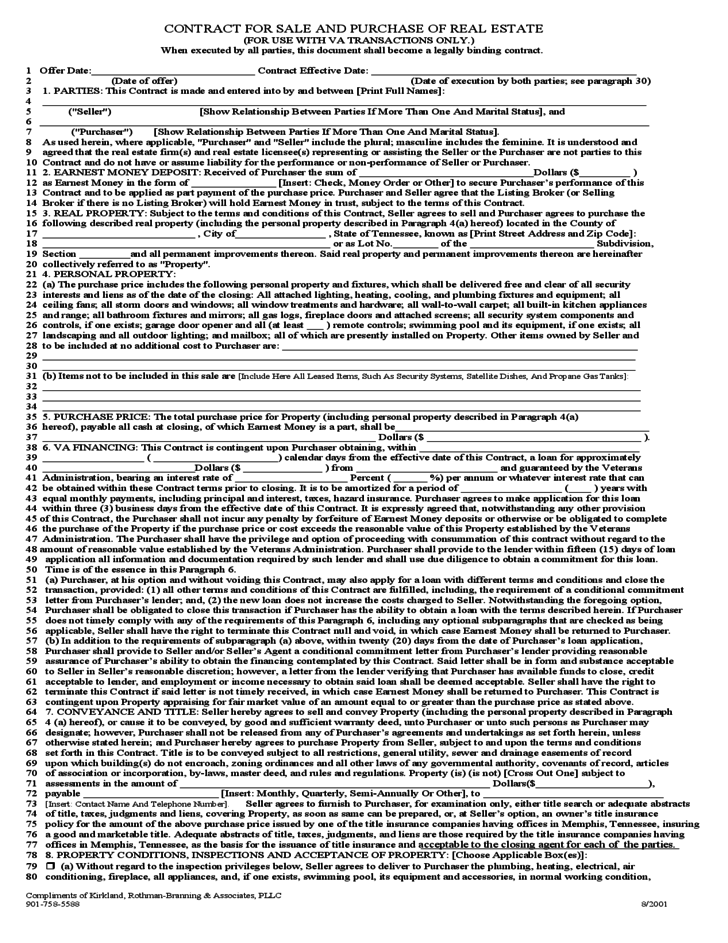 Contract for sale and puchase of real estate virginia for B b contract