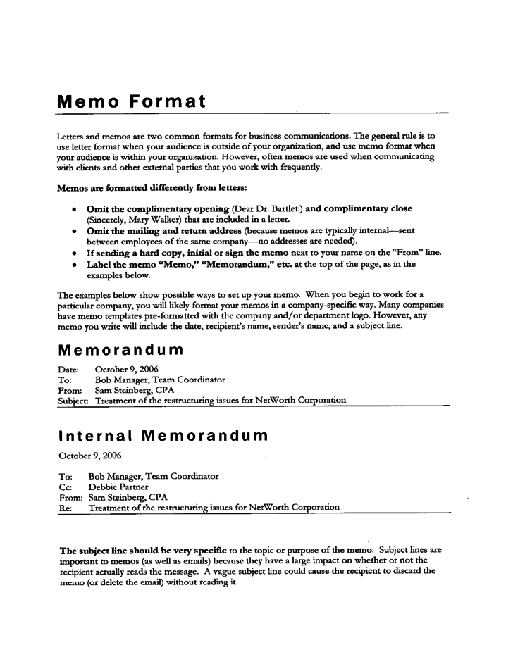 sample inter office memos