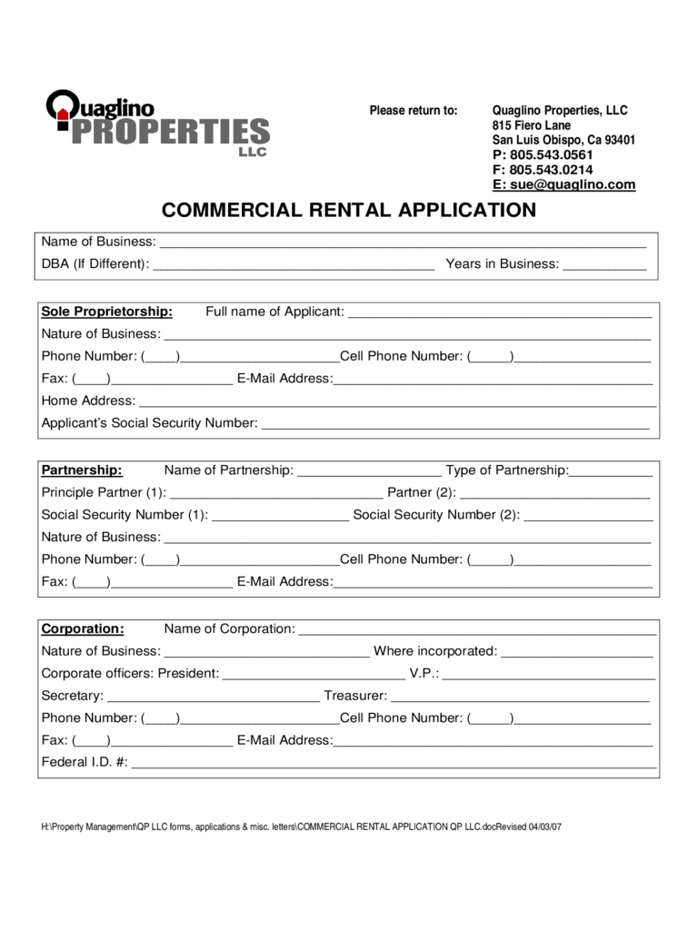 Commercial Tenant Application