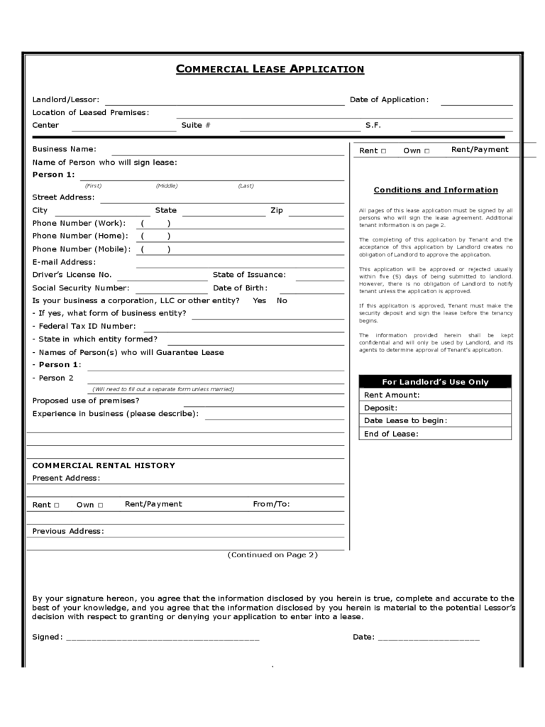 Office Rental and Lease Sample Form